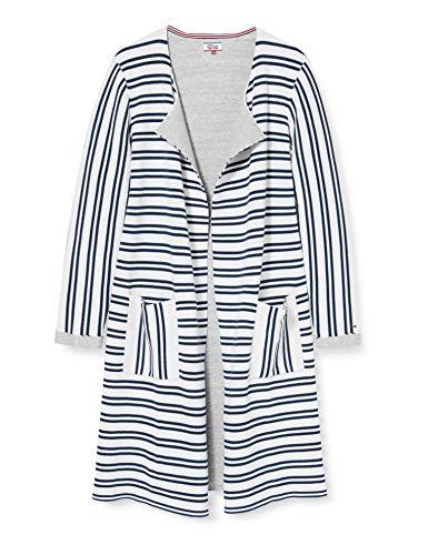 Tommy Jeans Damen Stripe Langarm Regular Fit Strickjacke Weiß (Bright White / Dress Blues 901) Large