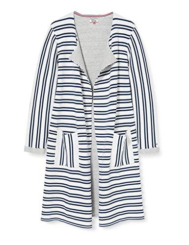 Tommy Jeans Damen Stripe Langarm Regular Fit Strickjacke Weiß (Bright White / Dress Blues 901) Large