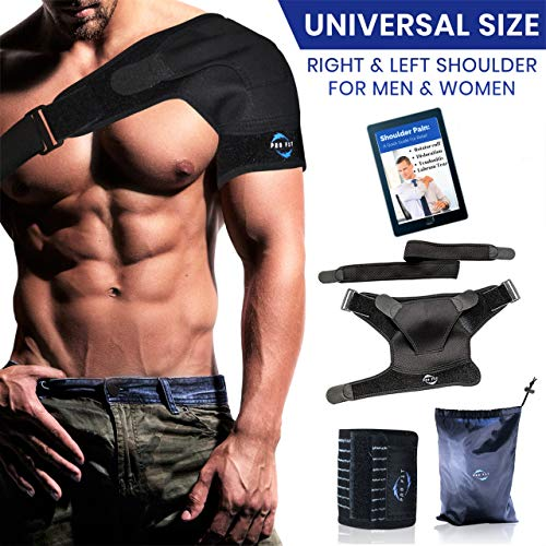 Shoulder Brace Support Kit | Torn Rotator Cuff Copper Compression Sleeve for Man & Woman | Breathable Neoprene, Pressure Ice Pack Pad for Tear Labrum, Dislocated AC Joint, Frozen/Strains Pain Relief