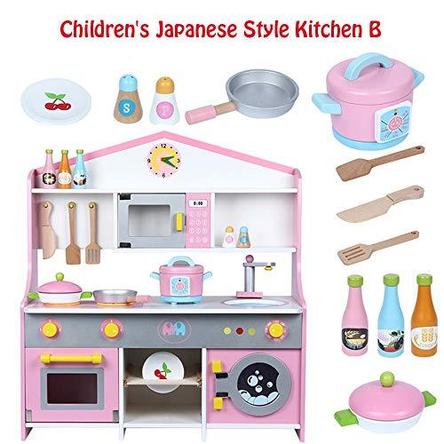 NANE Kinder Holz Pretend Play Kitchen Toy, Herd Kind Kochen Spielzeug Simulation Japanische KüChe, Puzzle Junge Und MäDchen