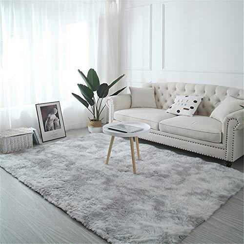 Troysinc - Alfombra de pelo largo, lavable, moderna, mullida, para salón o dormitorio, poliéster, gris claro, 200*250cm.