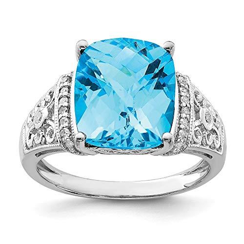 Plata de ley con topacio azul y diamante en bruto Anillo - tamaño N 1/2 - JewelryWeb