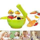 INTVN Molinillo de Alimentos para Bebé, 2pcs Portátil Tazón de Suplemento de Alimentos Hecho a Mano Suplemento Alimenticio Vajilla Infantil para Preparar Alimentos Granulados Duros Como Nueces