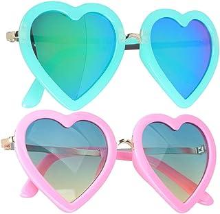 PRETYZOOM - 2 Piezas Gafas de Sol en Forma de Corazón para Niños Niños Retro Anti Uv Eyewear Party Dress Accesorios Rosa + Verde
