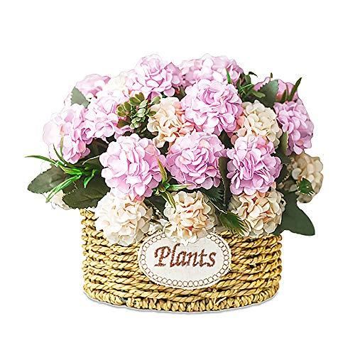 Künstliche Blumen Seide Bouquet Mini Künstliche Pflanzen Rosa Hortensie Blume Handgemachte Korb mit Vase Hochzeitsarrangement Kleine Echte künstliche Kunststoff Blume Kunst Dekor Wohnkultur