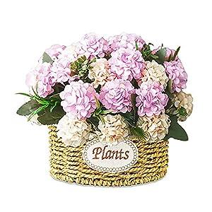 NEW RUICHENG Artificial Flowers Silk Bouquet Mini Artificial Plants Pink Hydrangea Flower Handmade Basket with Vase Wedding Arrangement Small Real Artificial Plastic Flower Art Decor Home Decoration