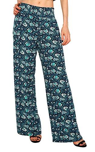 urban GoCo Mujer Pantalón Palazzo de Pierna Ancha Casual Estampado Floral Baggy Pantalones (X-Large, 3)
