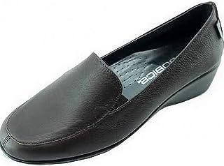 ace10c370fd842 Aerobics Narita Mocassin Compensé Ultra Souple Super Flexible Confortable  Chaussures Femme Pieds Sensibles Marque Cuir Marron