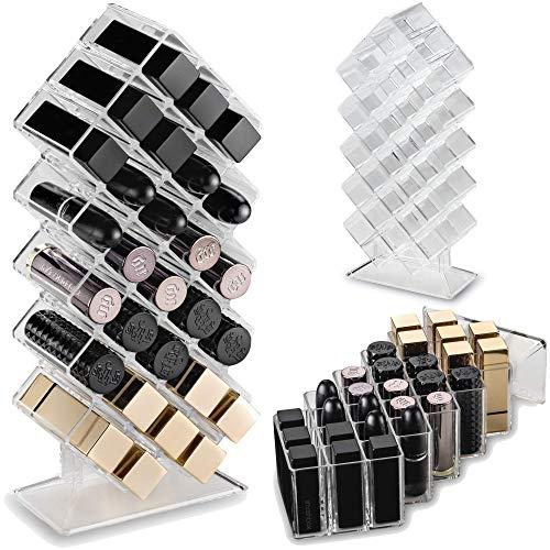 byAlegory Acryl Lippenstift Makeup Organizer Stand | 28 Raumspeicher für flaches Stehen und Stapeln Lipstick Organizer