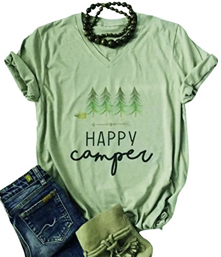 LANMERTREE Women Letter T Shirt Graphic Casual Short Sleeve V-Nack Funny Tee Tops Blouse (Small, Green)