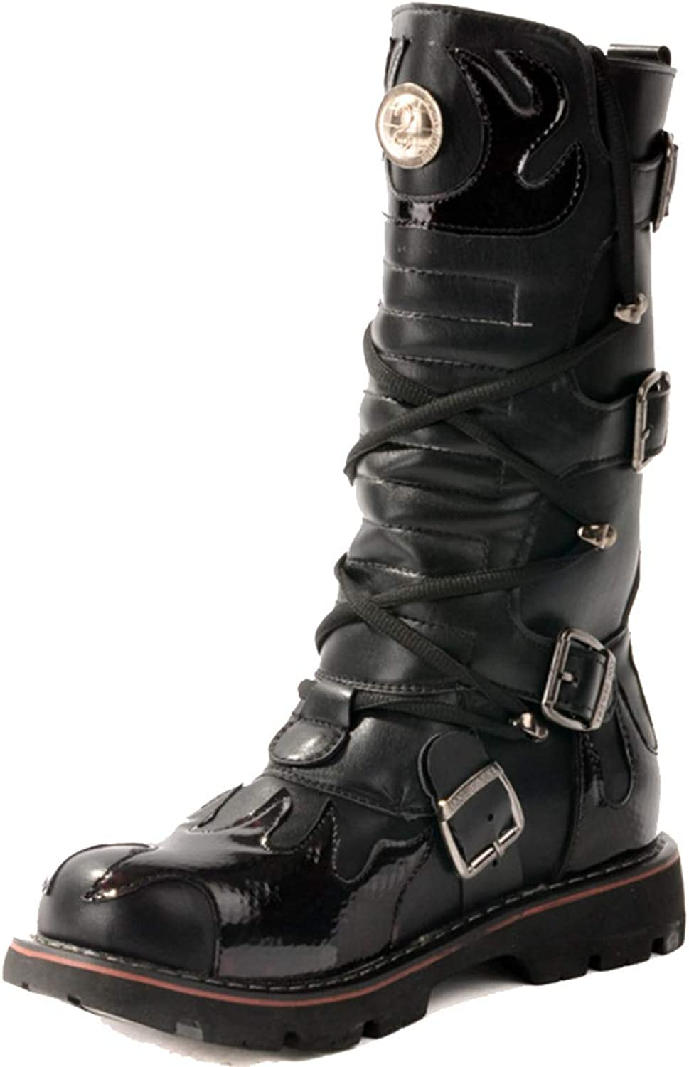 Men's Boots Riding Boots Outdoor Totem Fashion Buckle Motorcycle Boots High Tube Tooling Boots Punk Cowboy Boots for Fall Winter
