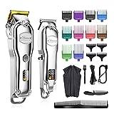 Kit barba Cortador de pelo profesional Mans Pelo Clipper Set Metal Electric inalámbrico Cabello Recortador para Peluquero LCD Mostrar peluquería