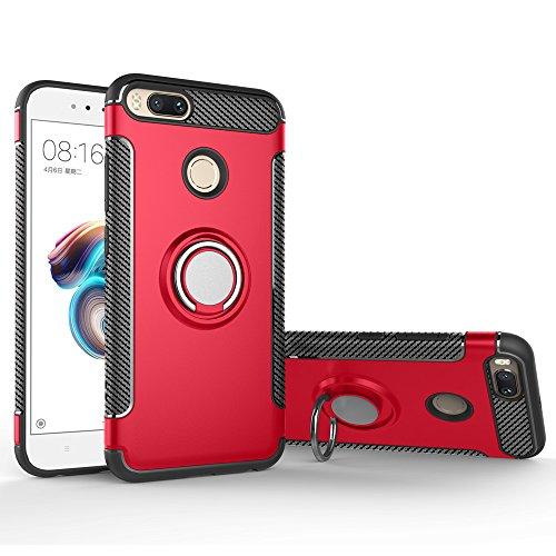BLUGUL Cover Xiaomi Mi A1 /Cover Xiaomi Mi 5X, Supporto per Anelli Girevole a 360 Gradi, Compatibile con Supporto Auto Magnetico, Custodie Case per Xiaomi A1/5X Rosso