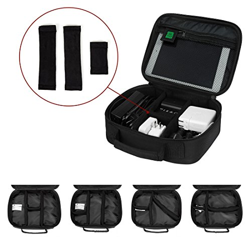 『(バッグスマート)BAGSMART PC周辺小物用収納ポーチ ベルクロ式仕切り iPad Mini2収納可 ブラック』の6枚目の画像