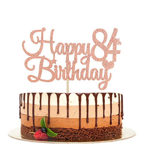 Happy 84th Birthday Cake Topper, 84 & Fabulous, Cheers to 84 Years, Hello 84, 84th Birthday/Anniversary Party Decorations Rose Gold Glitter.