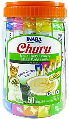 INABA Churu Tuna & Chicken Lickable Creamy Purée Cat Treats 5 Flavor Variety Pack of 50 Tubes