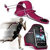 (Hot Pink + écouteur) Asus Zenfone 2 Deluxe ZE551ML intégrée de haute qualité sport Brassards Courir Cyclisme Gym Jogging...