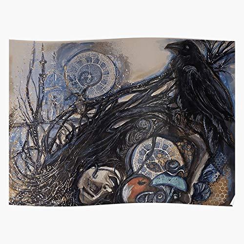 Beauty Raven Bird Woman Girl Crow Slumber Sleep Póster de regalo de Showtime para decoración del hogar de arte de pared de mayor venta