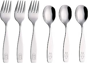 Exzact Kids Silverware 6 Pieces Children's Safe Flatware Set Stainless Steel - 3 x Children Forks, 3 x Children Dinner Spoons, Toddler Utensils, Metal Cutlery Set for Lunchbox (Engraved Dog Bunny)