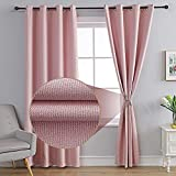 MOFV Linen Texture Blackout Curtains for Bedroom - Thermal Insulated Burlap Curtains / Grommet Top Room Darkening Drapes for Living Room/Farmhouse (Pink, 52''W x 84''L)