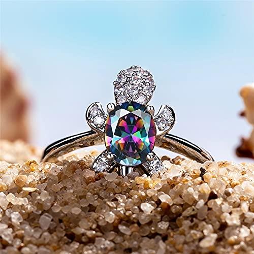 YANGYUE Anillos de Tortuga de Piedra Ovalada de circón para Mujer, joyería de Compromiso, Anillo de Cristal Multicolor de Color Plateado a la Moda Vintage
