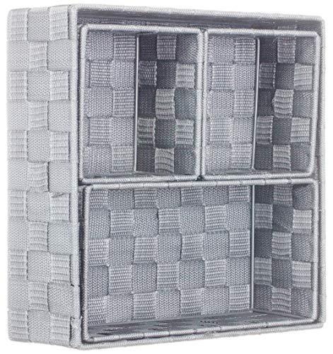 Brandsseller Aufbewahrungsbox Dekobox - Rattan/Flecht Optik - 4er Set - Hellgrau