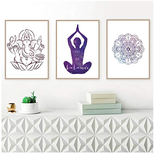Zhaoyangeng Yoga Chakra Meditatie Prints Motivationele Muur Kunst Doek Poster Yoga Mandala Thuis Decor Schilderen Gym Decor Yoga Cadeau-50X70Cmx3/Unframed