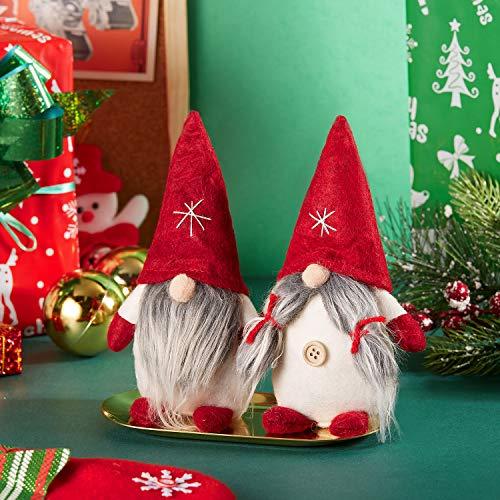 2 Pieces Christmas Santa Gnome Plush Handmade Scandinavian Tomte Swedish Elf Dwarf Nordic Figurine Toy for Home Decor Winter Ornaments Christmas Decorations Presents
