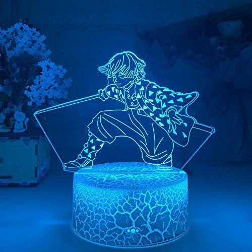 3D anime luz nocturna ilusión Led Demon Slayer Agatsuma Zenitsu figura para niños dormitorio infantil decoración Cool Kimetsu No Yaiba lámpara regalos-control táctil