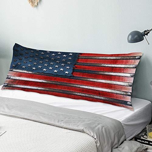 Copertura della cassa del cuscino del corpo Bandiera America USA Bandiera Grungy In Metallo Con Teste Di Bulloni Federa lunga 50 cm x 135 cm Morbida e lussuosa microfibra setosa con cerniere per