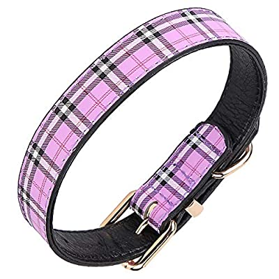 chede Genuine Leather Dog Collar Adjustable Pet Collar for Small,Medium,Large Dogs, with Heavy Duty Metal Buckle and Soft Touch (L, Purple)