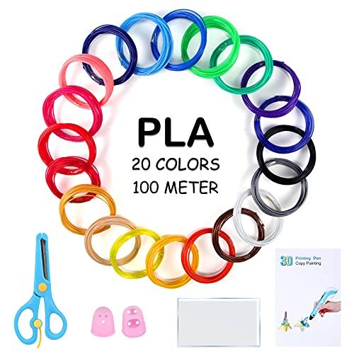 Filamento PLA per penna 3D, 3D, 20 colori, 1,75 mm, totale 100 m di filamento PLA per stampante 3D