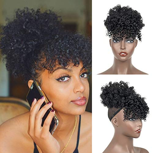 Afro Puff Drawstring Ponytail With Bangs 1b Black Afro High Puff Bun With Bangs Short Afro Kinky Curly Hair Pieces Clips In Pineapple Updo Hair Extensions For Women Wantitall