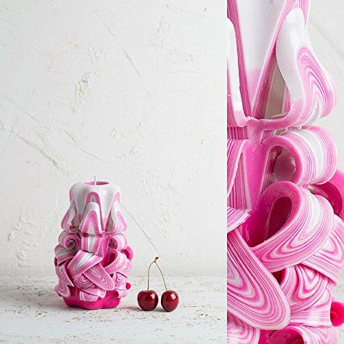 Dekorative geschnitzte Kerze - handgefertigte Skulptur - klein, rosa und weiß - leuchtende Farben -...