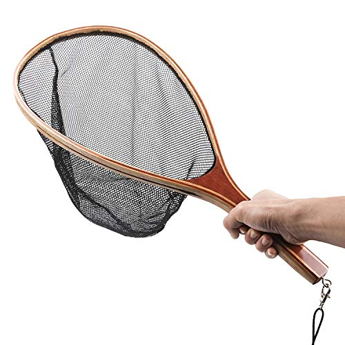 Mounchain Fly Fishing Landing Net, Wooden Frame Fish Net with Waterproof Nylon Mesh for Trout Fishing Catch and Release