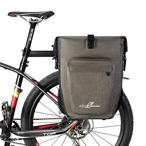 BOLSAS Alforja Trasera Bicicleta, MTB Bicicleta para Ciclismo Plegables a Prueba de Agua, Reflectantes, Maletas de Viaje Largas 27L Equipaje