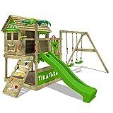 FATMOOSE Aire de jeux TikaTaka Town XXL Maisonnette en bois Portique de jeux avec 2 sièges de balançoire et toboggan