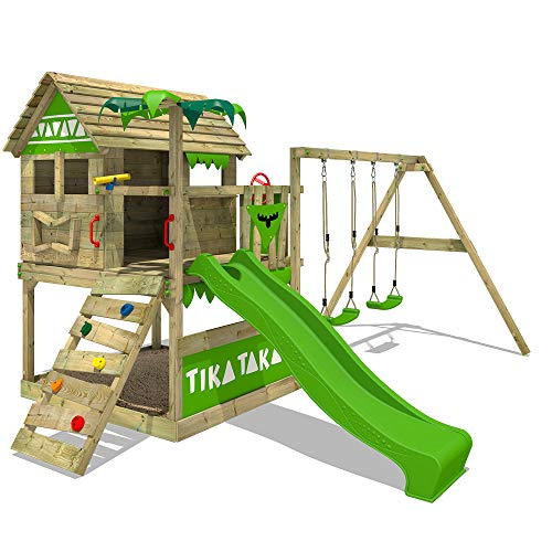 FATMOOSE Spielturm TikaTaka Town XXL - Klettergerüst mit Stelzenhaus, Schaukel, Kletterleiter, Sandkasten, apfelgrüner Wellenrutsche und viel Spiel-Zubehör