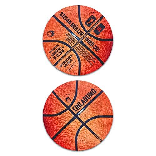 10 x Runde Geburtstag Einladungskarten Einladung Karten 148mm Durchmesser - Basketball
