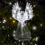 ROSRAN Solar Garden Stake Lights Clear Angel Stake Memorial Gifts Waterproof 10 LED Light in The Wings - Solar Angel Lights Angel Remembrance & Sympathy Gifts Cemetery Decorations for Grave White