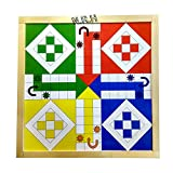 Mejor juego de mesa magnético de madera 2 en 1 para ludo y serpiente, acabado natural