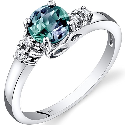 Peora Created Alexandrite Promise Ring in 14K White Gold with Genuine Diamonds, Solstice Round Solitaire, 1 Carat, Comfort Fit, Size 6