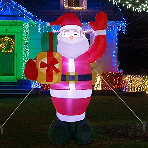 5Ft Tall Inflatable Greeting Santa Claus with Lights,Christmas Blow Up Lighted Yard Decoration,Outdoor Garden Yard Xmas Holiday Party Decor