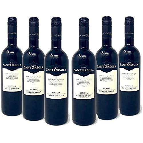 Sant'Orsola Nero d'Avola D.O.C. Sizilien Rotwein 6 Flaschen Nero d'Avola trocken (6 x 0.75 l)