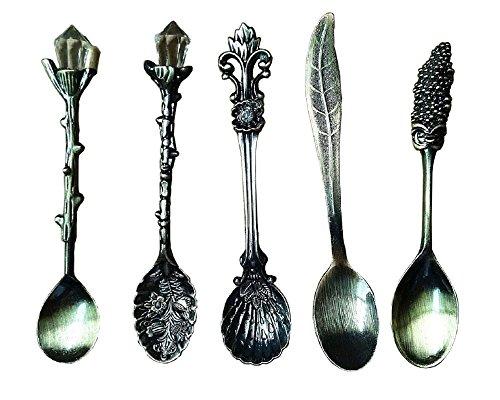 HENGRUI Cuchara Pequeña Creativa Serie de Vajilla de Palacio Retro,Un Juego de 5 Piezas para cocinas, condimentos y Especias, Bronce