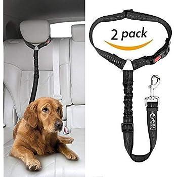 Headrest Dog Car Seat Belt with Anti shock Elastic Bungee Buffer Adjustable Durable Headrest Seat belt Pet Dog Car Safety Harness Restraint 【2 Pack 】.