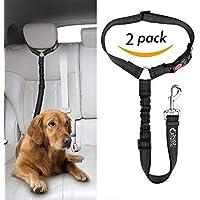 Just Pet Zone - Cinturón para reposacabezas de Coche para Perro, 2 Unidades, Ajustable, Duradero, con elástico de Nailon