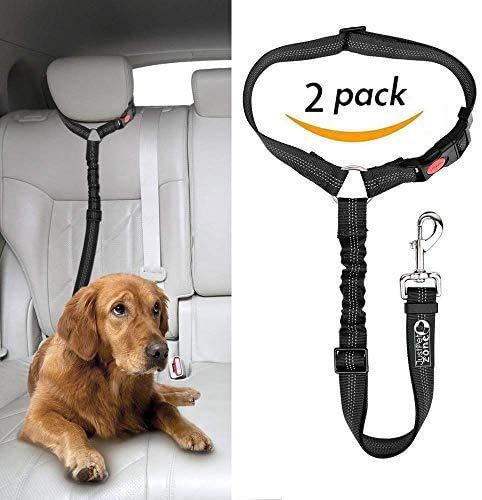 Headrest Dog Car Seat Belt with Elastic Bungee Buffer Adjustable Durable Headrest Seat belt Pet Dog Car Safety Harness Restraint 【2 Pack 】