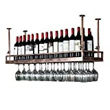 WEIB-botellero Estante de Vino de Bronce - Estilo Moderno Estante de la Copa de Vino Que cuelga del Hierro Estante de decoración de Techo para Bar, restaurantes, Cocina o Bodega de vinos [Más tamaño]