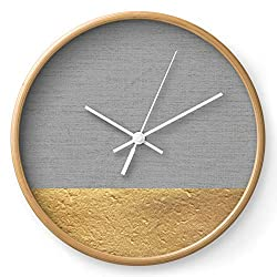 Society6 Color Blocked Gold & Grey by Caitlin Workman on Wall Clock - Natural - White